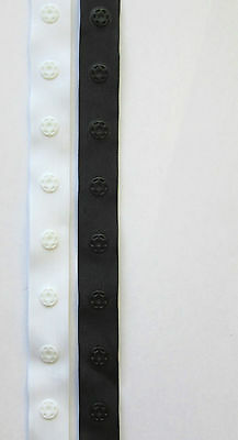 Nortexx Snap Tape/Fastener Duvet/Cushion White or Black 18mm Wide