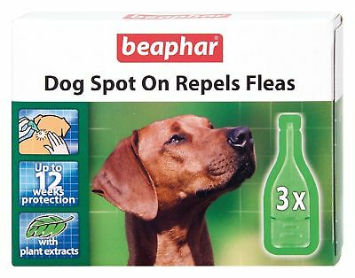 Beaphar Dog Spot On Repels Fleas 12 Week Pack - Herbal Treatment