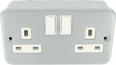 13 Amp Double 2 Gang Switched Socket Twin Electrical Wall Plug Socket Metal Clad