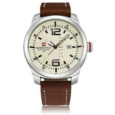 f943add20744 NAVIFORCE Mens Leather Strap Sport Quartz Analog Watch 3 ATM with date C7V8  ( R4