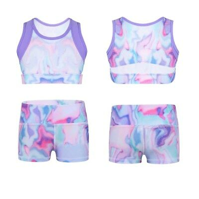 Kids Girls Stretchy Tanks Crop Top Boy-cut Shorts for Dance Gym Workout Sport