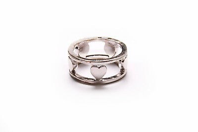 Fantastic Ladies Lovely Shiny Silver Perforated Ring with Polished Hearts (T293)