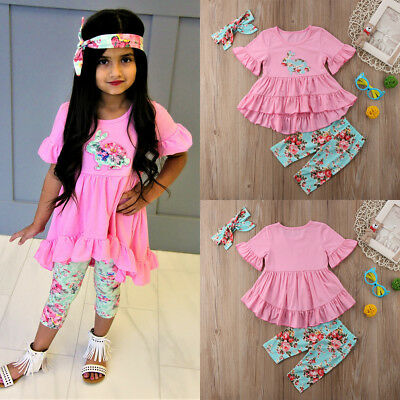 Easter Outfits Kids Baby Girl Floral Top T-shirt Dress Legging Pant Clothes Sets