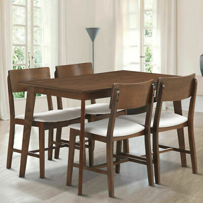 5 PCS Mid Century Modern Dining Table Set Kitchen Table & 4 Upholstered Chairs