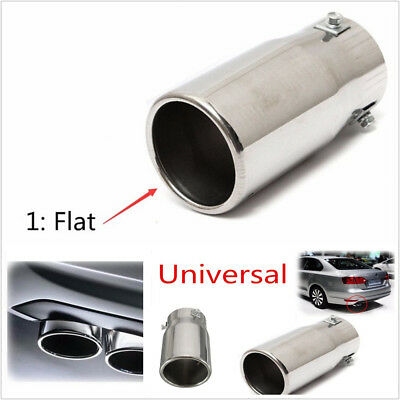 58mm ID Car Flat Exhaust Pipe Tip Muffler Stainless Steel Trim Tail Tube Chrome