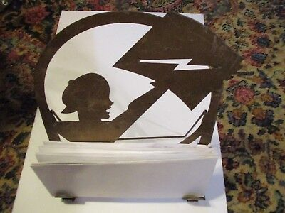 Vtg 1930's Art Deco Newsboy Newspaper Holder/Stand Copper Finish Stamped Steel