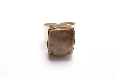 Beautiful Antique Style Boho Ladies Gold Wide Ring with Brown Beige Stone (T293)