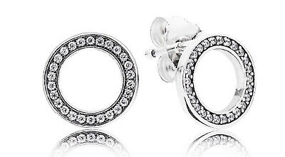 Genuine Pandora Sterling Silver Forever Stud Earrings - 299585CZ