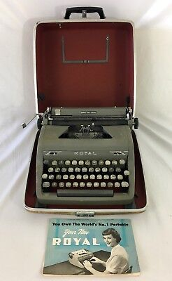 Vintage Royal Portable Quiet Deluxe Typewriter In Hard Case