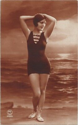 Old French hand tinted real photo postcard bathing beauty nude 1920s RPPC #386