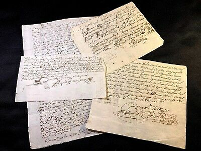 LOT OF FOUR SPANISH DOCUMENTS 1600 - 1700s