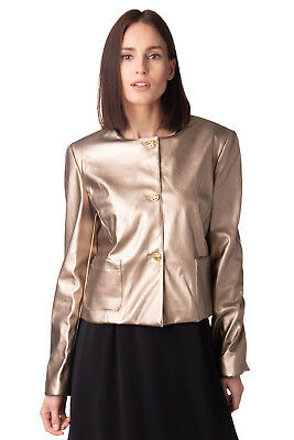 LUNATIC Jacket Size M Crumpled Metallic Effect Split Cuffs Made in Italy RRP€209