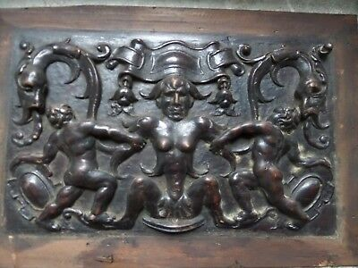 19th Century Carved Walnut Gothic Grotesque Devil Cherub and Sea Monster Panel