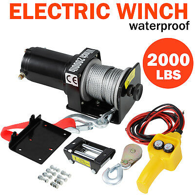 2000LBS Heavy Duty Electric Recovery Winch 12V Remote Control Rope Trailer Truck