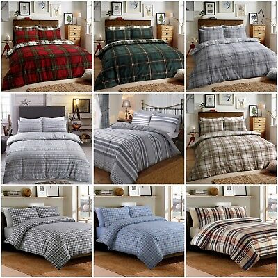 Tartan Flannelette 100% Brushed Cotton Duvet Cover Bedding Set With Pillowcases