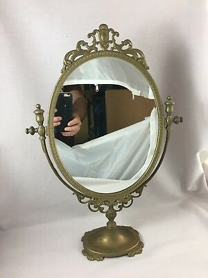 Antique French Toilet table mirror psyche bronze brass looking glass
