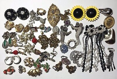HUGE LOT Vintage PAIRS SINGLE CLIP ON EARRINGS REPAIR CRAFT Harvest SOME SIGNED