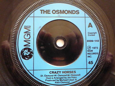 The Osmonds ‎– Crazy Horses   2006-142  VINYL EX to NEAR MINT See Pictures