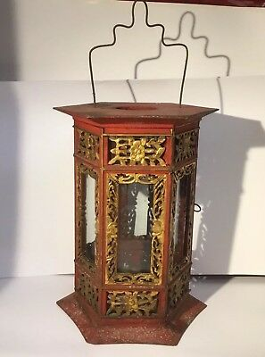 Large Antique 19th Century Chinese Lantern Carved Red Gold Gilt Wood, Glass,