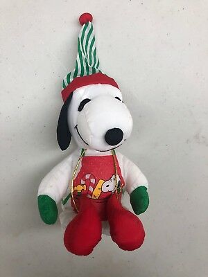 "Peanuts Snoopy Elf Stuffed 6"" Christmas"