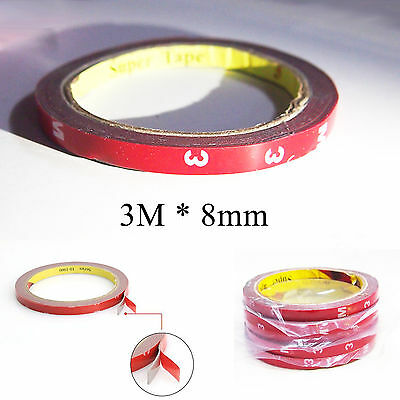 1 X 3M 8MM Double Sided Auto Car Vehicle Self Adhesive Acrylic Foam Tape 3 Meter