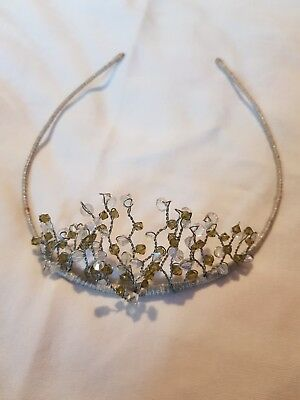 Pretty Tiara with clear and sage green beads