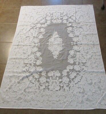 Vintage Linen And Cut Out Lace Floral Design Tablecloth  Sheer Accent 85 X 62