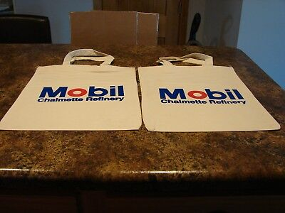 vintage Mobil oil cloth shopping bags (2) with handles Chalmette refinery (NOS)