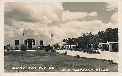1940's Shady Oak Courts New Braunfels, Texas TX real photo unmailed postcard