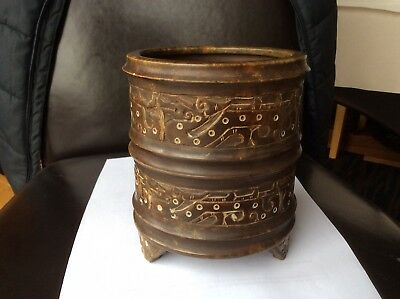 A Vintage Chinese carved Jade/Stone 'Dragon' Pot.