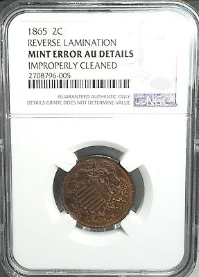 1865 2C **mint Error**ngc-Almost Unc-Details Cleaned