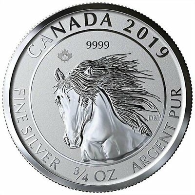 2019 Canadian Animal Portrait Series Wild Horse (Mustang) 3/4 oz Silver RP Coin
