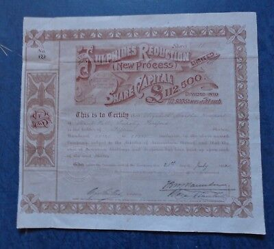 Sulphides Reduction (New Process) Ltd., share certificate dated 1902.