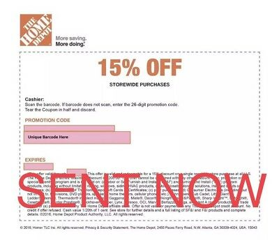 ONE 1x Home Depot 15% Off-1coupon- In Store Only -saving 200$ max 1/28/19