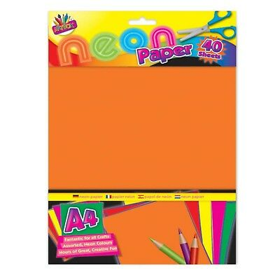 40x A4 NEON PAPER SHEET Craft Mixed Colour Fluorescent Dayglo Scrapbook Pad Book
