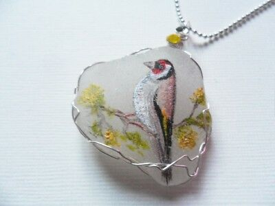 "Goldfinch bird art sea glass necklace hand painted to order 18"" silver ballchain"