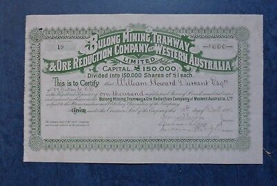 Australia.  Bulong Mining, Tramway & Ore Reduction Co of W.A. share cert., 1896.