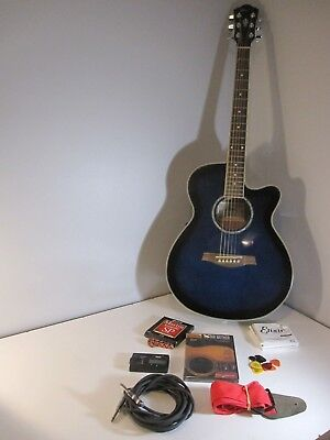 Ibanez Ael10e Bk 14 01 Black Acoustic Electric Guitar With Soft Case