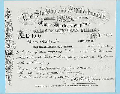 Stockton and Middlesbrough Water Works Company, share certificate dated 1867.
