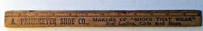 ANTIQUE PRIESMEYER SHOE YOUNG AMERICA WESTERN SCHOOL SHOE Advertising Ruler RARE