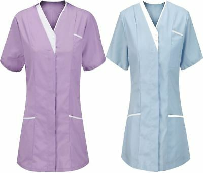 Ladies Short Sleeve V Neck Healthcare Nurse Carer Tunic Top Womens Workwear Top