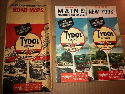 Lot Of 2 Vintage 1940's New York & Maine  Flying A Road Maps & Glove Box Folder