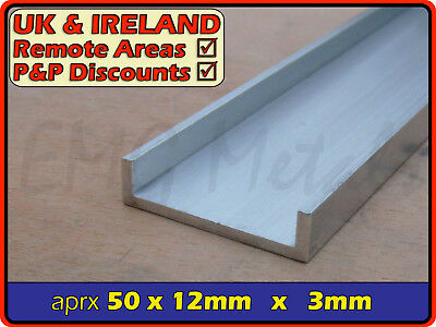 "Aluminium Channel (C U section, gutter, profile,edging,alloy) | 2"" x 1/2"""