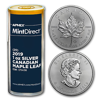 2019 Canada 1 oz Silver Maple Leaf (25-Coin MintDirect® Tube) - SKU#171436