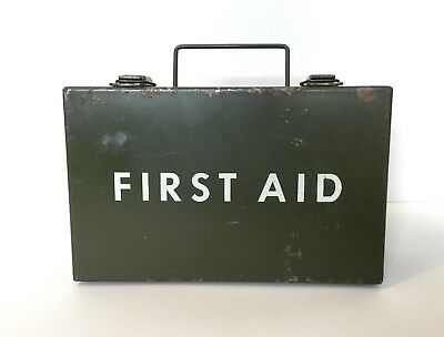Vintage Ever Ready First Aid Kit Co. Army Green Metal Box~EMPTY