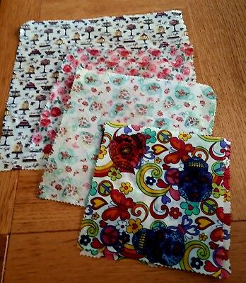 Biodegradeable Cotton Beeswax Food Wraps eco-friendly S/M/L free p&p