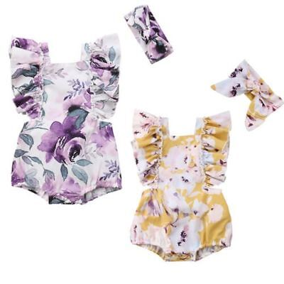 Newborn Baby Girls Butterfly Sleeve Romper & Headband Set Infant Outfits Clothes