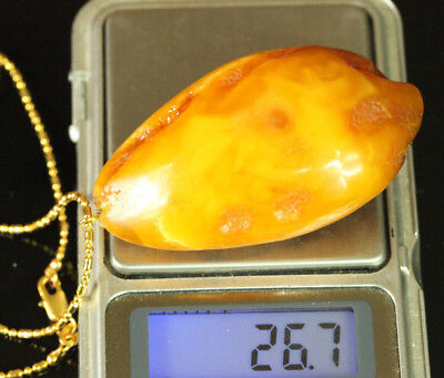 Natural OLD Antique 26.7 g Butterscotch Egg Yolk Baltic Amber Stone Pendant B464