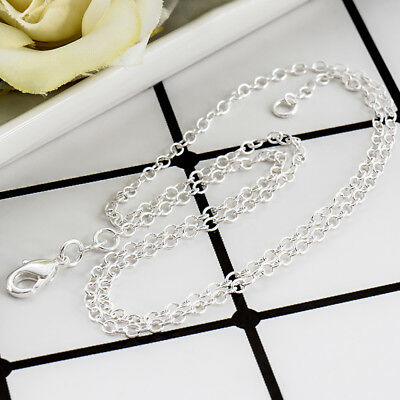 Wholesale 5Pcs Silver 2mm  Shaped Chain Necklace Size 18  inch Jewelry Lots