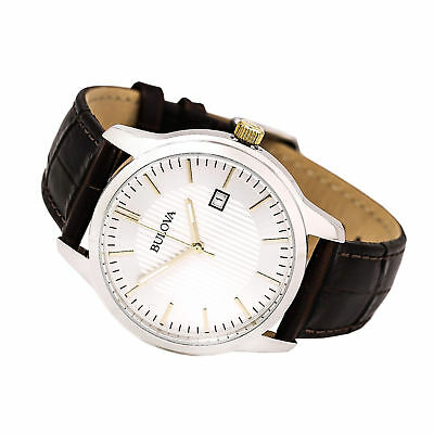 New Bulova Men's 98B266 Classic Silver Dial Brown Leather Strap Watch
